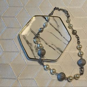 Cezanne Silver and Pearl Necklace